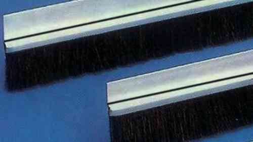 1 meter Strip Brush FH25 INOX with PP black BrushHeight BH25 Total Height TH50