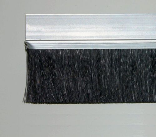 1 meter Strip Brush FH25 INOX with PP black BrushHeight BH40 Total Height TH65