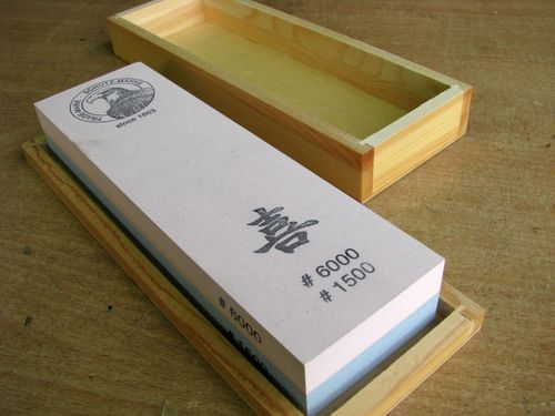Jap. Waterstone 200x60x30 Grit 1500+6000 in wooden box