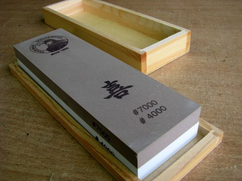 Jap. Waterstone 200x60x30 Grit 4000+7000 in wooden box