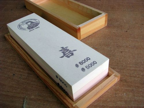 Jap. Waterstone 200x60x30 Grit 5000+8000 in wooden box