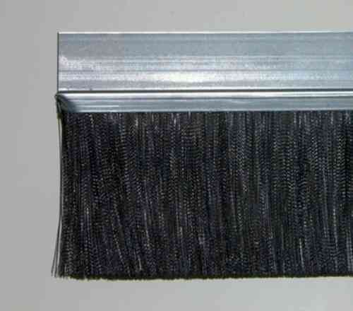 1 meter Strip Brush FH40D Zinced Steel with PP black BrushHeight BH80 Total Height TH120
