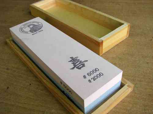 Jap. Waterstone 200x60x30 Grit 2000+6000 in wooden box
