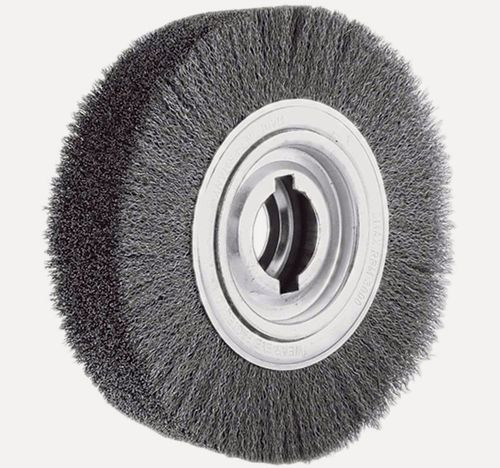 Disc Brush 250x60 D35 R100 Bo30/50.8 DoubleNotch Stainless Steel Wire 0.30 crimped Deburring Brush