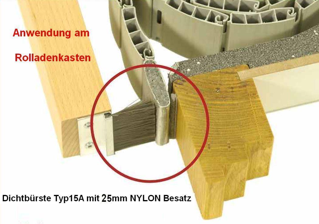 2m alu rolladen dichtb rste typ15a mit wetterfestem pp besatz bh25 gesamth he gh40mm erhaso. Black Bedroom Furniture Sets. Home Design Ideas