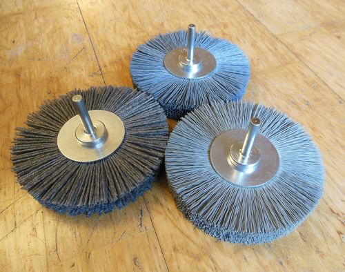 Abrasive Polishing 4in Power Brush SET 6mm shank Abrasive Nylon SiC K80+320+600